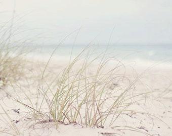 Florida Beach Photography - Fine Art Photograph - Landscape Photography - White Tan Blue Home Decor