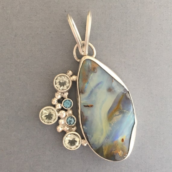 Australian Boulder Opal with green amethyst and topaz
