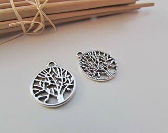 4 charm Locket tree 20 x 16 mm metal silver color - 2 mm hole - 484.22