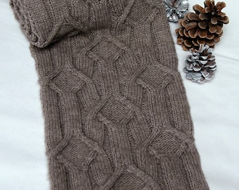 """Hand knit Scarf for men/women in supersoft and warm Qiviut-Alpaca-Merino-blend with unique cable pattern """"Forrest Island"""" - READY TO SHIP"""