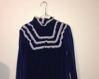 Vintage blue velvet and lace dress