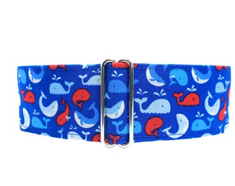 Nautical Martingale Dog Collar, 1.5 Inch Martingale Collar, Dog Collars for Boys, Whales Dog Collar, Blue Dog Collar, 1.5 Inch Dog Collar