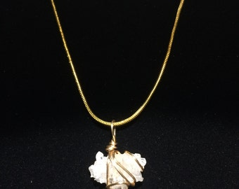 Clear Crystal Quartz Cluster and Gold necklace and earrings Set