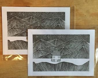 A5 original mountain cottage print