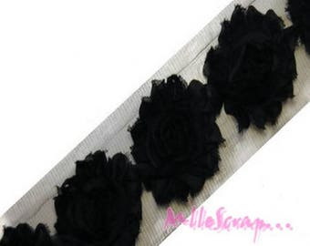 The 3 flowers scrapbooking card embellishment black organza Ribbon *.