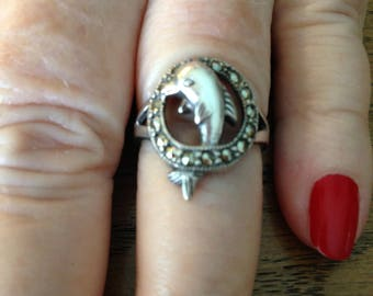 Sterling Silver Marcasite Dolphin Ring