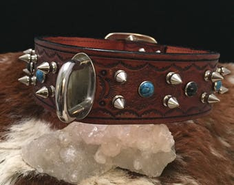 Bespoke Heavy Duty Tooled Leather Spiked & Riveted Dog Collar