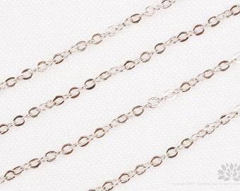C110-R// Original Rhodium Plated Cable Chain, Gossy, 5M