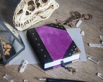 plum and black suede A6 sketchbook, spellbook, book of shadows, witchcraft, wicca, pagan, magic