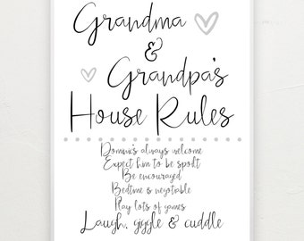 Grandparents house rules. A4 print.