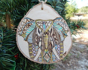 Elephant pyrography and hand painted wood slice ornament