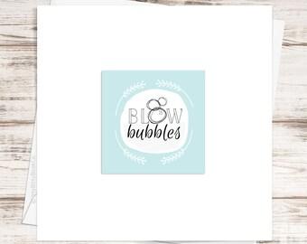 New baby card. Children's birthday card. Whimsical birthday card. Baby girl card. Baby boy card. New baby. Handmade card. Typography.