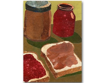 A Peanut Butter & Jelly Sandwich - NOSTALGIA CARD or Print  for a Child's Room - Childhood Memories -  (CMEM2013017)
