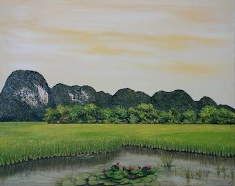 Landscape Painting / decorative painting landscape - Tam Coc, Viet Nam