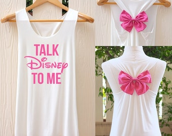 Talk Disney To Me Bow Tank Top. Racerback bow. Disney shirt. Tank Top. Disney Tank Top. Burnout Shirt. Work out tank top. Disneyworld tank