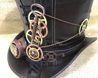 Steampunk Brown leatherlook Top hat with Monokel and cogs gears Details in 58cm and 59cm