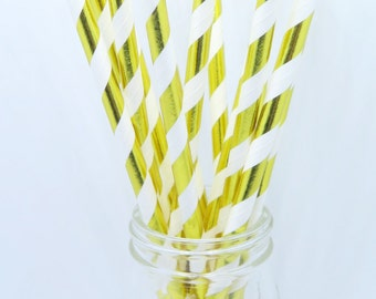 Party Supplies, Paper Straw Pack, 25 pieces, Paper Straws, White and Gold Straws, Party Straws, Hazals Bazaar Supplies
