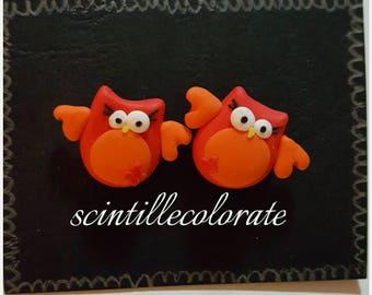 Red Owl Earrings in Fimo