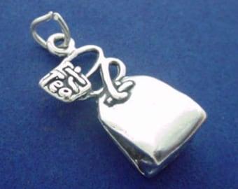 TEABAG Charm .925 Sterling Silver Tea Bag Pendant - lp3565