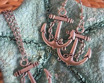 Ancient silver Anchor Jewelry Set, Nautical Necklace,Anchor earrings,Coastal Jewelry Set,Anchor Necklace
