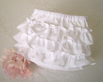 White Ruffle Bottom Baby Bloomers size 3 to 6 mo,Ruffled Baby Panties, Ruffled Diaper Cover, Ruffled Knickers