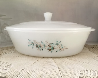 Glasbake vintage casserole dish, with lid, milk glass, J 224, #34, cookware, brown and teal blue floral and leaf pattern, name unknown