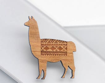 Llama Brooch, Llama Gifts, Wooden Brooch, Laser Etched Jewellery, Eco Friendly Jewellery, Wood Brooch, Animal Brooch, Wooden Llama Brooch