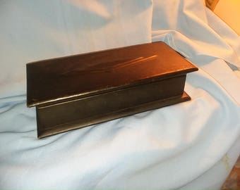 Vintage Men's Leather box, all leather box,  black leather box, trinket box,