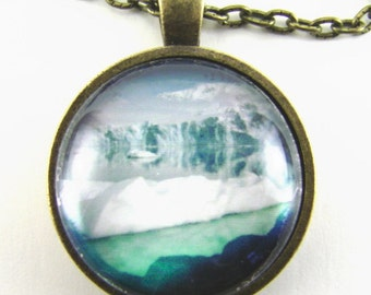 ANTARCTIC GLACIER and ICEBERG Necklace -- Sheldon Glacier,   Geography, Natural history art,   Ecology jewelry,   Nature