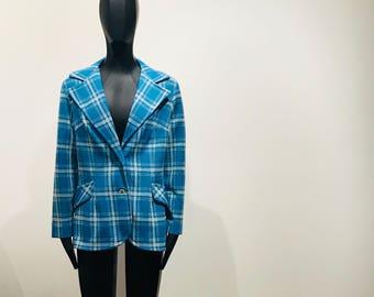 "Vintage 70s Blue and White ""Happy Gilmore"" Plaid Jacket/Blazer sz 7"