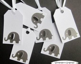 Elephant Gift Tags - Large Gray Elephant on White - Set of 6