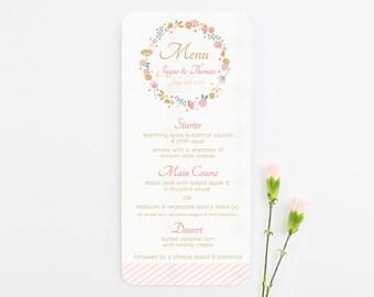 Country Floral wedding menu