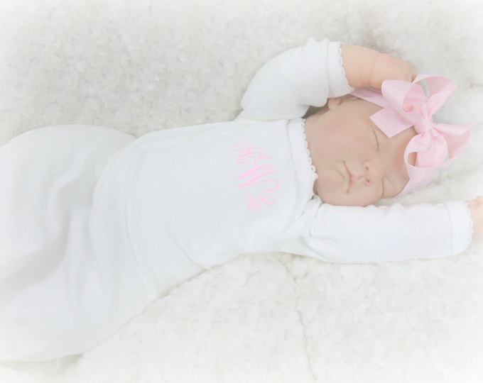 White Personalized Coming Home Baby Gown for Girl, Pink Monogrammed Baby Girl Gown