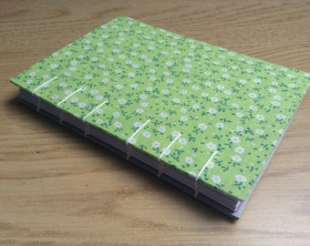 Green A6 Floral Coptic Bound Journal Hardback White Pages