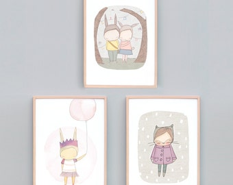 Art Print Set Three, Girls Bedroom Art, Pink Bedroom Art Prints, Animal Nursery Prints, Bunny Print, Kitty Cat Art