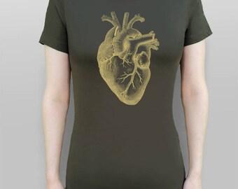 Heart Shirt Anatomical Heart T-Shirt Gold Heart Tshirt Heart Tee Women's Top Green Shirt Screen Printed Tee Women's Clothes Vintage T-shirt