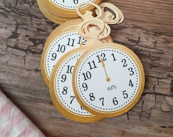 24 Gold Clock Tags - Around The Clock Shower