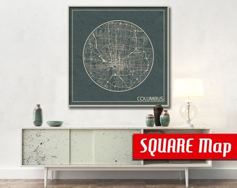 COLUMBUS OH SQUARE Map Columbus Ohio Poster City Map Columbus Ohio Art Print Columbus Ohio poster Columbus map