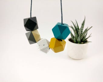 Geometric Necklace - Mustard, Granite, Teal & Grey | Statement Necklace | Gift for her | Geometric Jewellery | Granite necklace | Geo