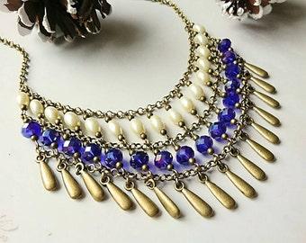 Blue Bib Necklace, Statement Bib Necklace, Bib Necklace, Pearl Necklace, Blue Necklace, Layered Necklace, Vintage Jewelry, Statement Jewelry