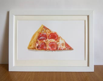 pizza slice watercolor illustration / junk food / fast food / 8x11 original painting / food illustration / foodie gift / kitchen wall art