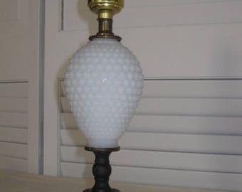 vintage Milk Glass Lamp in Hobnail Pattern
