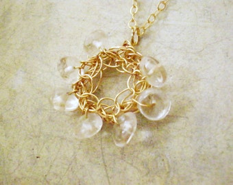 Crochet 14k gold filled crystal quartz pendant Necklace