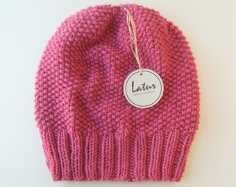 Pink Knitted Women's Hat Holiday gift for her Christmas gift