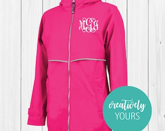 Personalized Charles River New Englander Rain Jacket - Hot Pink/Personalized Hot Pink Rain Jacket