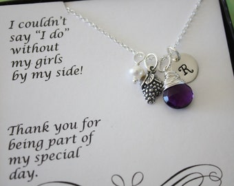 8 Bridesmaid Initial Grape Charm Necklaces, Bridesmaid Gifts, Sterling Silver, Vineyard Gift, Initial jewelry, Purple Stone, Thank you Card