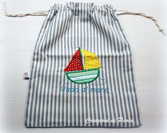 Baby bag for the sea with boat