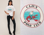 New Orleans Shirt CAJUN POLO CLUB Joke Shirt 80s Lobster Tshirt Burnout Tee Retro 1980s Vintage Paper Thin T Shirt Graphic Large
