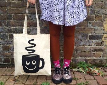 Coffee Tote Bag - Tea Tote Bag - Screen Printed Tote - Cute Tote Bag - Handprinted Bag - But First Coffee - Coffee Bag - Illustrated Tote