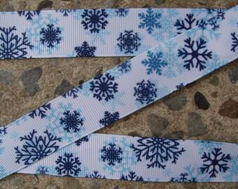 """7/8"""" Snowflake Ribbon 3 yards Grosgrain Ribbon Hair Bow Ribbon Christmas Ribbon Winter ribbon Holiday Ribbon"""